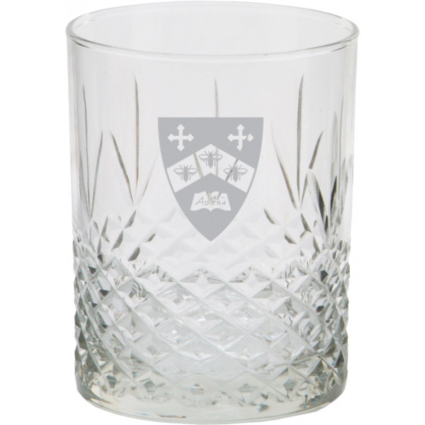 Rock Glass 14 oz Gilman Shield Satin Frost Imprint