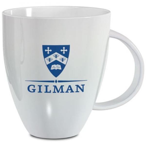 White Lustre Mug Gilman Shield 18 0z